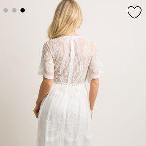 Pinkblush Dresses - White Lace Mesh Overlay Maxi Dress